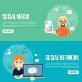 Sociala mallar för massmedianätverkswebsite stock illustrationer