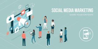 sociala marknadsföringsmedel royaltyfri illustrationer