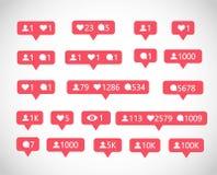 Sociala massmediaanhängare, kommentarer, något liknandevektoruppsättning vektor illustrationer