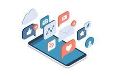 Sociala massmediaapps på en smartphone stock illustrationer