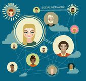 Sociala massmediacirklar, nätverksillustration, symbol Arkivbilder