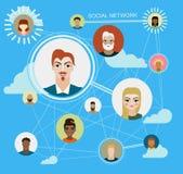 Sociala massmediacirklar, nätverksillustration, symbol Arkivfoto