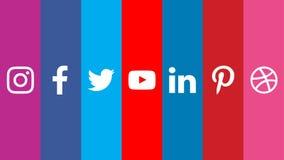 Sociala massmedialogoer Facebook Twitter Youtube Instagram Pinterest vektor illustrationer
