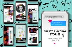 Sociala massmediamallar, skönhetbloggberättelser buntar för märken och bloggeren, det moderna befordranrengöringsdukbanret för so Arkivfoto