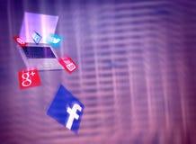 Sociala massmediaplatser som utbildar marknadsföringsbakgrundsillustrationen Arkivbilder
