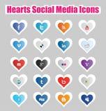 Sociala massmediasymboler 1 för hjärtor vektor illustrationer