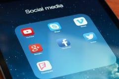 Sociala massmediasymboler Arkivfoto