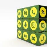 sociala massmediasymboler för illustration 3d Arkivfoton
