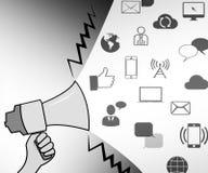 Sociala massmediasymboler föreställer den online-illustrationen för fora 3d royaltyfri illustrationer