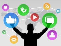Sociala massmediasymboler med personen Vektor Illustrationer