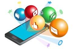 Sociala massmediasymboler med smartphonen Arkivbilder