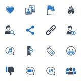 Sociala massmediasymboler, uppsättning 2 - blåttserie Arkivbilder
