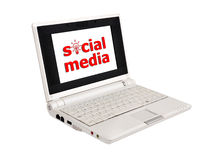 Sociala medel i bärbar dator Fotografering för Bildbyråer