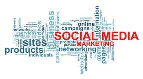 Sociala medel som marketing ordetiketter Arkivbilder