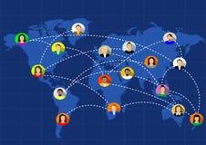Sociala nätverk förenar världen Royaltyfria Bilder