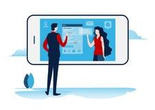 Sociala nätverk faktisk kommunikation Online-gemenskap pratstund överför meddelandet, mejl Miniatyrillustrationvektor för plan te royaltyfri illustrationer