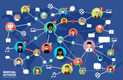 Sociala nätverk Internetkommunikation vektor Fotografering för Bildbyråer