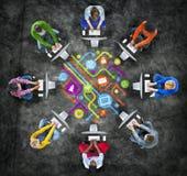 Sociala nätverkande- och datornätbegrepp för folk stock illustrationer
