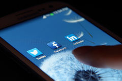 Sociala nätverkandeapps Royaltyfria Foton