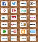 Sociala nätverkandewebsiteslogoer och märken Royaltyfria Bilder