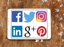 Sociala nätverkslogoer och symboler Royaltyfria Foton