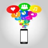 Sociala nätverkssymboler på tankebubblafärger, vektorillustrat Royaltyfria Bilder