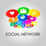 Sociala nätverkssymboler på tankebubblafärger, vektorillustrat Royaltyfri Bild
