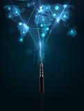 Sociala nätverkssymboler som kommer ut ur elektrisk kabel Royaltyfria Bilder