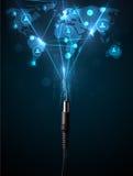 Sociala nätverkssymboler som kommer ut ur elektrisk kabel Arkivbild