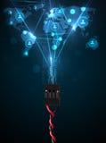 Sociala nätverkssymboler som kommer ut ur elektrisk kabel Arkivfoto