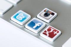 Sociala nätverkstangenter Arkivfoto