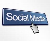 sociala stora medel för blå knapp Fotografering för Bildbyråer