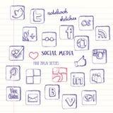 sociala symbolsmedel som ställs in Royaltyfria Foton