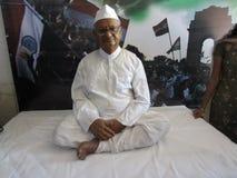 Socialarbetare Anna Hazare Arkivbild