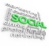 Sociale 3d Van Achtergrond woorden Bedrijfs Marketing Royalty-vrije Stock Afbeelding
