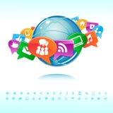 Sociale achtergrondnetwerk van de pictogrammenvector royalty-vrije illustratie