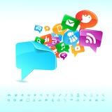 Sociale achtergrondnetwerk van de pictogrammenvector stock illustratie