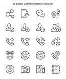 Sociale Communicatie geplaatste pictogrammen, de pictogrammen van de Lijndikte Stock Afbeelding
