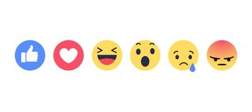 Sociale de media van Facebook emoties Stock Fotografie