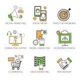 Sociale de pictogrammenreeks van het netwerkoverzicht van mededeling royalty-vrije illustratie