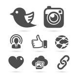 Sociale die netwerkpictogrammen op wit worden geïsoleerd Vector royalty-vrije illustratie