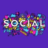 Sociale doddle vectorachtergrond Stock Afbeelding