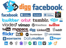 Sociale emblemen en pictogrammeninzameling Royalty-vrije Stock Afbeeldingen
