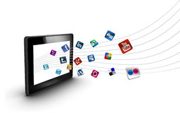 Sociale en media pictogrammen met tablet Royalty-vrije Stock Foto's