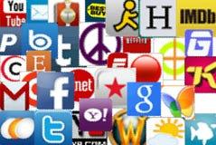 Sociale en otner media pictogrammen, redactiegebruik Stock Fotografie