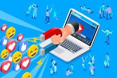 Sociale influencer en media inhoud stock illustratie