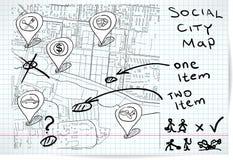 Sociale kaart van schets Stock Afbeeldingen