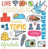 Sociale media achtergrond in de vectorillustratie van de krabbelstijl stock illustratie