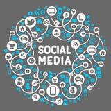 Sociale media, achtergrond van de pictogrammenvector Stock Foto's