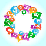 Sociale media, achtergrond van de pictogrammenvector Royalty-vrije Stock Afbeelding